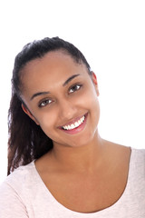 Smiling Pretty Asian Indian Woman on White