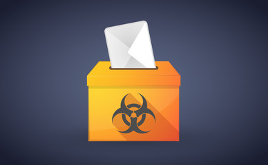 Ballot box with a vote and a biohazard sign