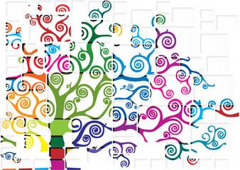 albero con texture colorata