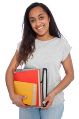 Young Girl Holding Books and Document Organizer