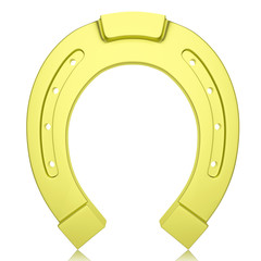 Metal, gold horseshoe isolated on white background.