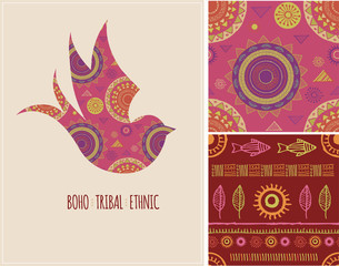 Bohemian, Tribal, Ethnic background with swallow bird and