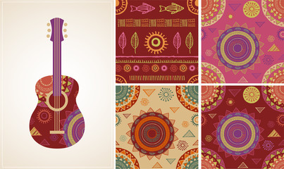 Bohemian, Tribal, Ethnic background with guitar icon and