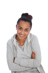 Happy Young Girl In Gray Jacket with Arm Crossed