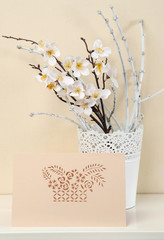 Greeting card with flowers kirigami