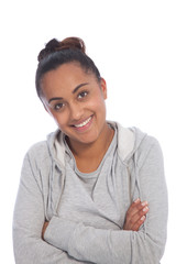 Close up Asian Indian Girl with Arm Crossed