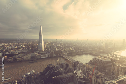 Foto op Canvas Londen Aerial view of London with The Shard skyscraper