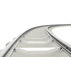 Illustration bend, turn railway isolated on white background