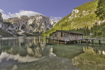 Braies lake and the palafitte