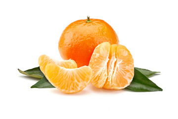 mandarines on white background