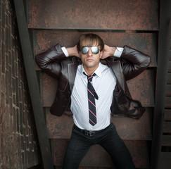 Businessman in mirrored sunglasses