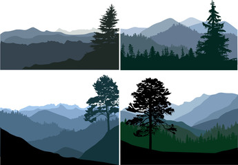 four landscapes with mountaines