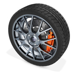 3d detailed car wheel