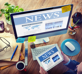 Digital Communication Searching Sharing News Concept
