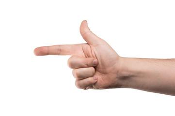 hand holding a gun fingers