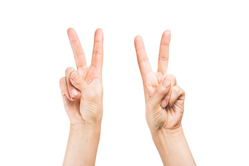 hand showing victory
