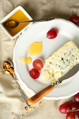 Still life with tasty blue cheese, close up