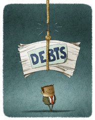 pile of unpaid debts about to fall over the defaulter