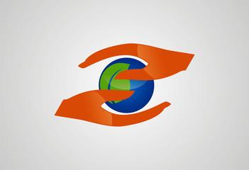 Hand leaf ecology logo vector
