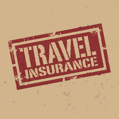 Abstract stamp or label with text Travel Insurance, vector
