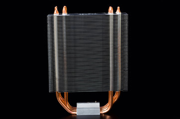 Modern CPU cooler isolated on a black background