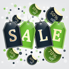 Sale tags vector background with labels and bubbles