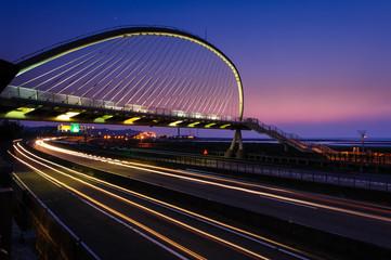 Suspension bridge at night in Hsinchu, Taiwan