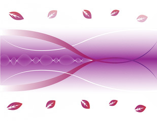 Beautiful violet abstract background with leafs and blend