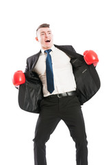 Business man with boxing gloves shouting