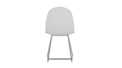 White plastic chair spin on white background