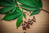 marijuana leaves on wooden table