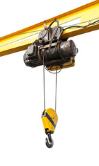 Beam crane with engine and hook isolated on white