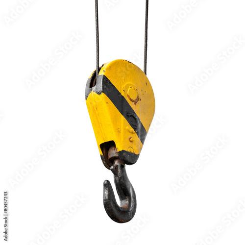 Crane hook hanging on ropes isolated on white - 80457243