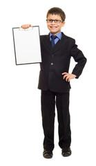 boy in suit show blank sheet
