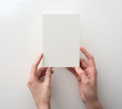 hand holding blank card on white background - 80459075