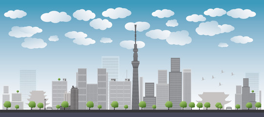 Tokyo skyline with skyscrapers Vector illustration