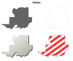 Solano County (California) outline map set