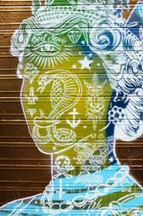 Abstract Green Queens head graffiti art