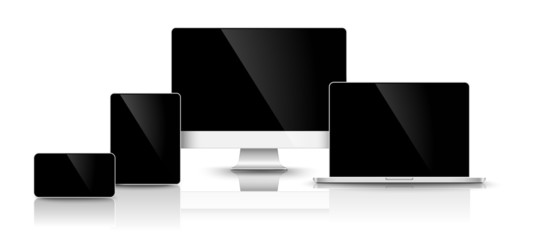 Modern black devices. Vector