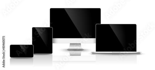 Modern black devices. Vector - 80460075