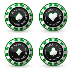 Set of poker vector icon with card symbol on a white background