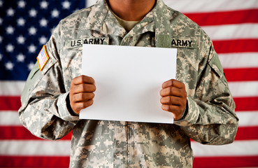 Soldier: Holding Blank Sign