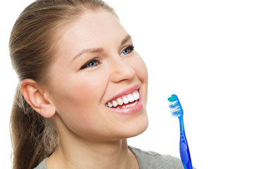 Dental care woman. Attractive female with healthy bright smile