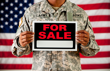 Soldier: Holding Blank For Sale Sign