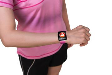 Sport woman wearing smartwatch with health sensor on white backg