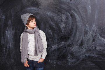 Boy on a gray background