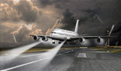 Passagierflugzeug gefährliche Landung bei Gewitter