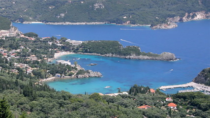 Panoramic view of the Palaiokastritsa in Corfu Island, Greece