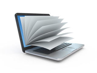 Llaptop screen as a notepad or book.