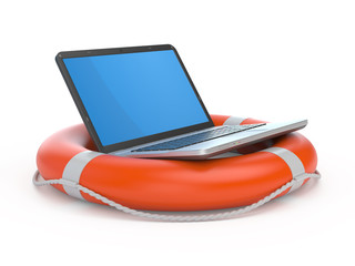 Laptop on lifebuoy